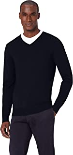 Amazon Brand - Meraki Men's Fine Knit, Merino Wool, Slim Fit, V-Neck Sweater