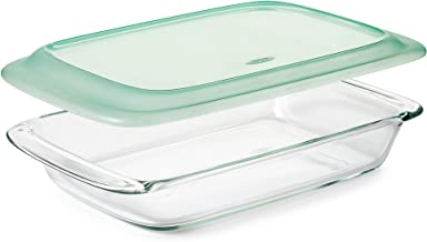 """OXO Good Grips Freezer-to-Oven Safe 3 Qt Glass Baking Dish with Lid, 9 x 13,Clear,9 x 13"""""""