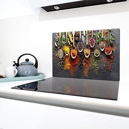 QTA | Plaque de protection universelle pour plaque de cuisson 80 x 52 cm 1 piece Pour plaques de cuisson Protection contre les éclaboussures Planche a découper en verre trempé Décoration