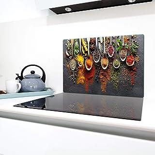 QTA - Placa protectora de vitrocerámica 80 x 52 cm 1 pieza cocina eléctrica universal para inducción protección contra salpicaduras tabla de cortar de vidrio templado como decoración Especias