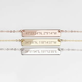 Christmas Gift for Her Hand Stamped Custom Coordinates Necklace in Gold Silver Rose Gold Personalized Name Initial Gifts - 4N