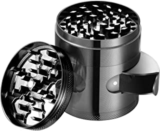 Herb and Spice Kitchen Grinder with Pollen Catcher 5-Piece Titanium Tobacco Grinder with Easy Access Window (Gun Metal)