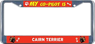Dwi24isty License Plate Frame Cairn Terrier Dog My Co-Pilot Chrome Metal Tag Border US Size 12×6 Inches