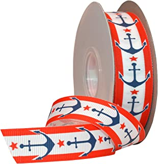 Morex Ribbon Nautical Grosgrain Fabric Ribbon with 7/8-Inch by 25-Yard Spool, Red/White/Blue