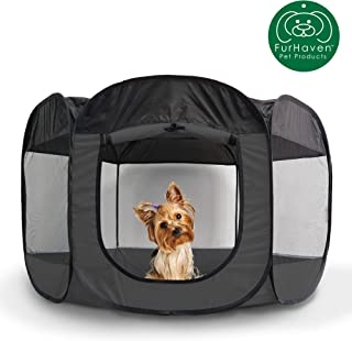 Furhaven Pet Playpen | Indoor/Outdoor Mesh Open-Air Playpen & Exercise Pen Tent House Playground for Dogs & Cats, Gray, Small