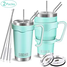 AOKIWO 20oz and 30oz Tumbler, [2 Packs] Stainless Steel Insulated Tumblers Double Wall Vacuum Tumbler Travel Mug with 2 Lids, 8 Straws, 2 Brush and 2 Handles(Teal)