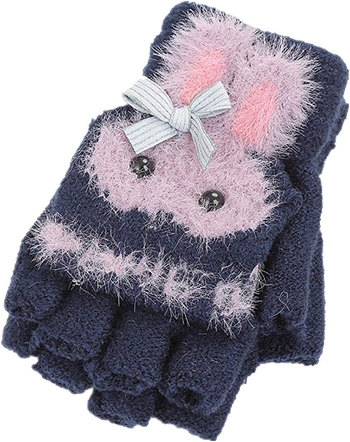 5-8 Years Girls Convertible Mittens, Bunny Knitted Thermal Kids Winter Gloves for Holiday Season