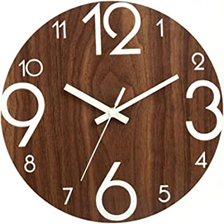 """12"""" Night Light Function Wall Clock, Wooden Round Arabic Numeral Design, Rustic Tuscan Style Decorative, for Office, Livin..."""
