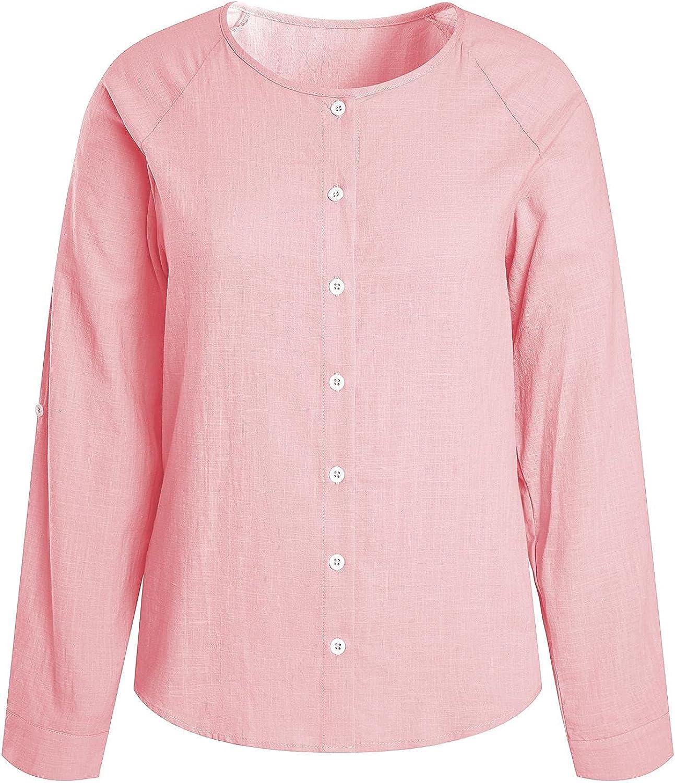 Womens Button Down Work Blouse Long Sleeve Cotton Linen Shirt Loose Casual Summer Tops