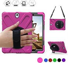BRAECN Samsung Galaxy Tab S3 9.7 Case(SM-T820) Heavy Duty Shockproof Rugged Armor Three Layer Hard PC+Silicone Hybrid Impact Resistant Defender Full Body Protective Case with a Hand Strap (Rose red)