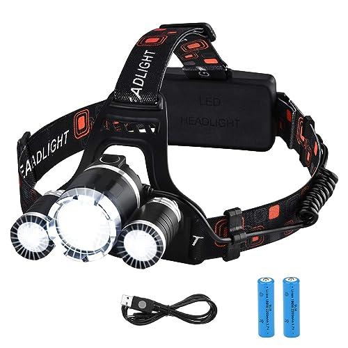 74cd5bd89 VicTsing Linterna Frontal Recargable LED Alta Potencia 6000 Lúmenes,  Linterna Cabeza con 4 Modos,