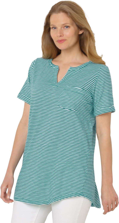 Woman Within Women's Plus Size Short-Sleeve Notch-Neck Tee Shirt
