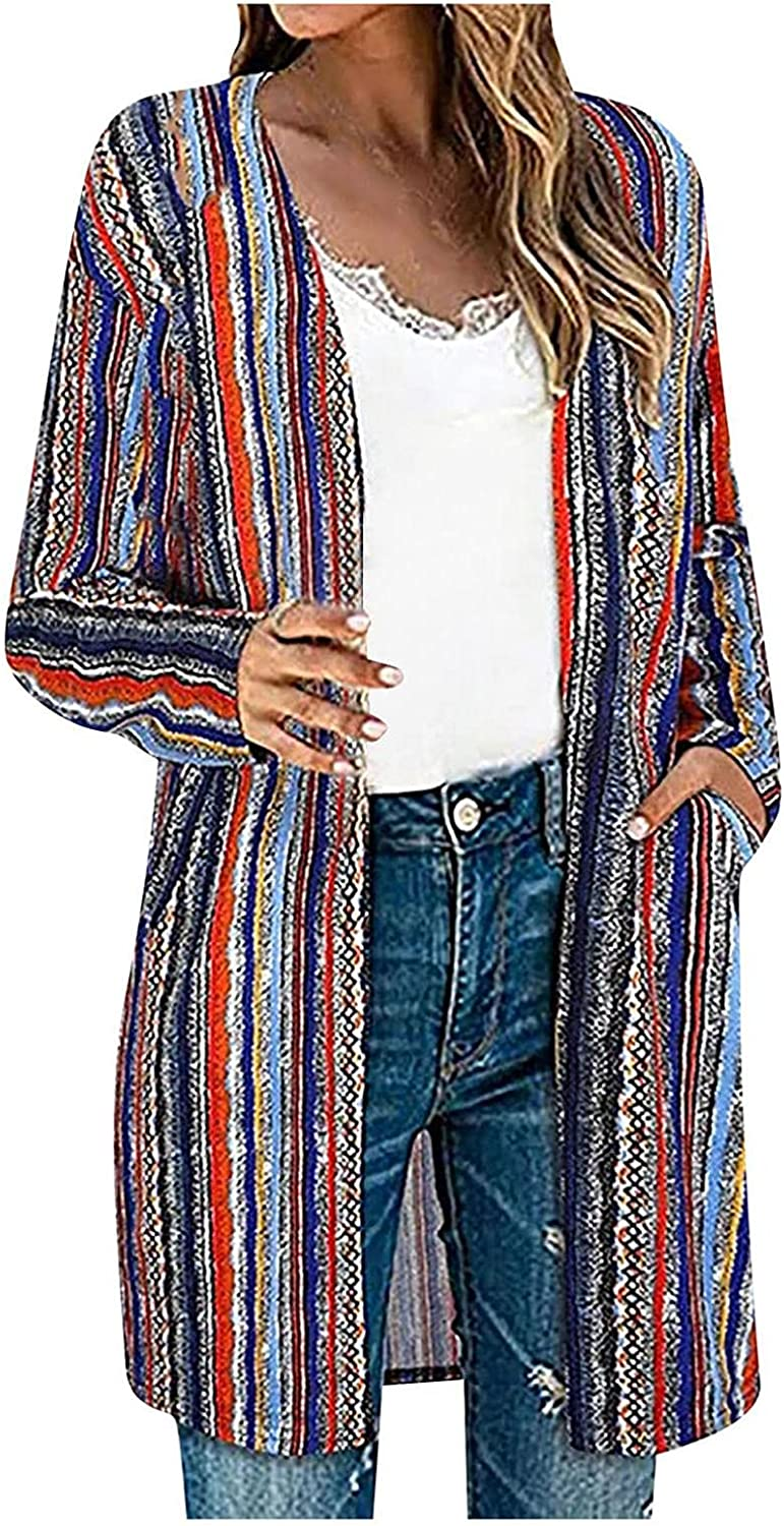Women's Casual Long Cardigan Lightweight Autumn Open Front Color Block Cardigan Knit Sweaters Outerwear Blouse