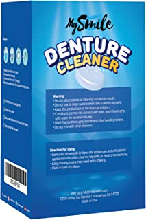 MySmile Retainer Denture Cleaner Tablets - Anti Bacterial Fresh Cleaning - Removes Stains and Bad Odor - Work for Nightguard, Mouth Guard, Invisalign, Aligner, Braces and Removable Dental Appliance -