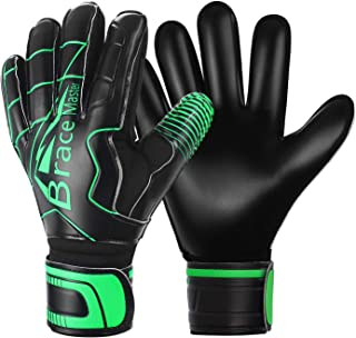 Goalie Goalkeeper Gloves for Youth and Adult, with Strong Grip and Finger Spines Protection, Black Latex Soccer Keeper Glove, Training and Match, Indoor and Outdoor