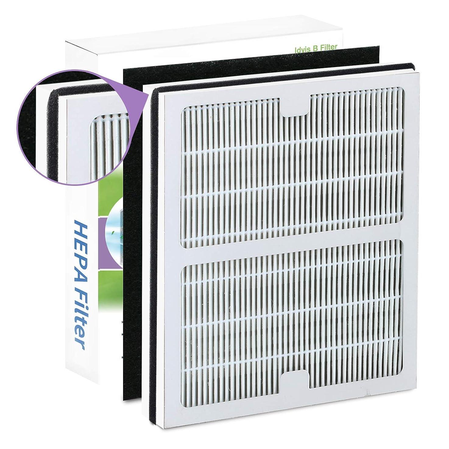 Compatible Idylis B Air Purifier Filters for Idylis AC-2125, AC-2126, IAP-10-125, IAPC-40-140, IAP-10-150, IAP-10-050, Model # IAF-H-100B, Includes 1 HEPA & 1 Carbon Filters