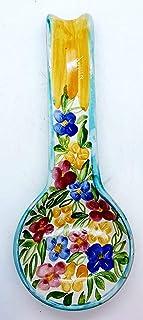 Poggiacucchiaio Linea Fiori di Nina dimensioni 29 x 11,5 cm Realizzato a Mano Le Ceramiche del Castello Made in Italy