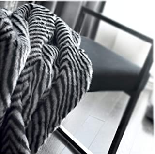Nicole Miller Mink Faux Fur Throw, Luxury Plush Blanket in Black, Brown or Silver Gray (Black)