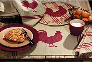 IHF Red Rooster Pattern Kitchen Table Placemat 100% Cotton Fabric Material 13 Inch X 19 Inch Dining Table Placemats Set of 4