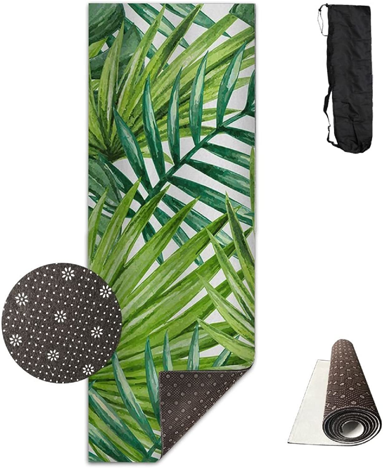 HHHSSS Long 70inch Wide 28inch Non Slip  Tropical Green Palm Leaves Exercise Mat for Yoga, Workout, Fitness with Carrying Strap & Bag