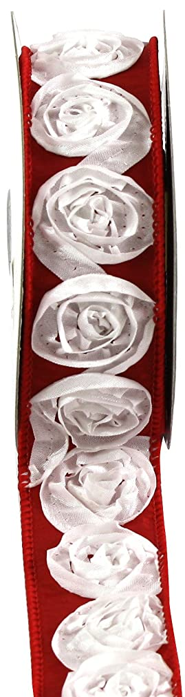 Kel-Toy Dimensional Rose Ribbon, 1.5-Inch by 10-Yard, White Rosettes on Red Ribbon