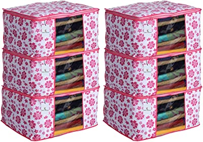 Heart Home 6 Piece Non Woven Saree Cover Set, Pink,Large Size, CTHH11711