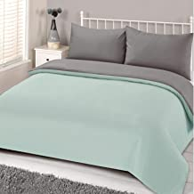 Brentfords Reversible Plain Dye Duvet Cover with Pillow Case Bedding Set, Duck Egg Neo, Mint Green Silver Grey, King