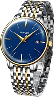 B BINGER Men's Japanese Movement Automatic Mechanical Watch with Stainless Steel Band