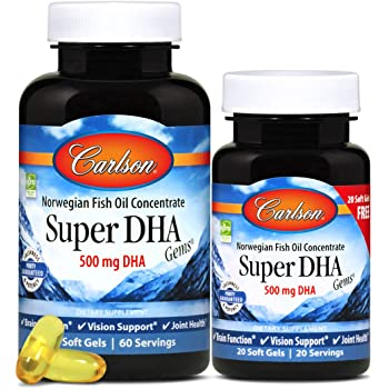 Carlson - Super DHA Gems, 500 mg DHA Supplements, 640 mg Fatty Acids, Wild-Caught Norwegian Arctic Fish Oil Concentrate, Sustainably Sourced Nordic Fish Oil Capsules, 60+20 Softgels