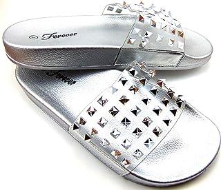 c88de94aa Women s Clear Bling Rhinestone Style Metallic Studs Open Toe Slides Shoes  Sandals Size 8.5