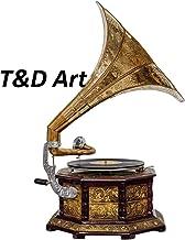 Gramophone Player Original Gold Carved Design Gramophone Record 78 rpm Working Gramophone Player Wooden Box, Horn