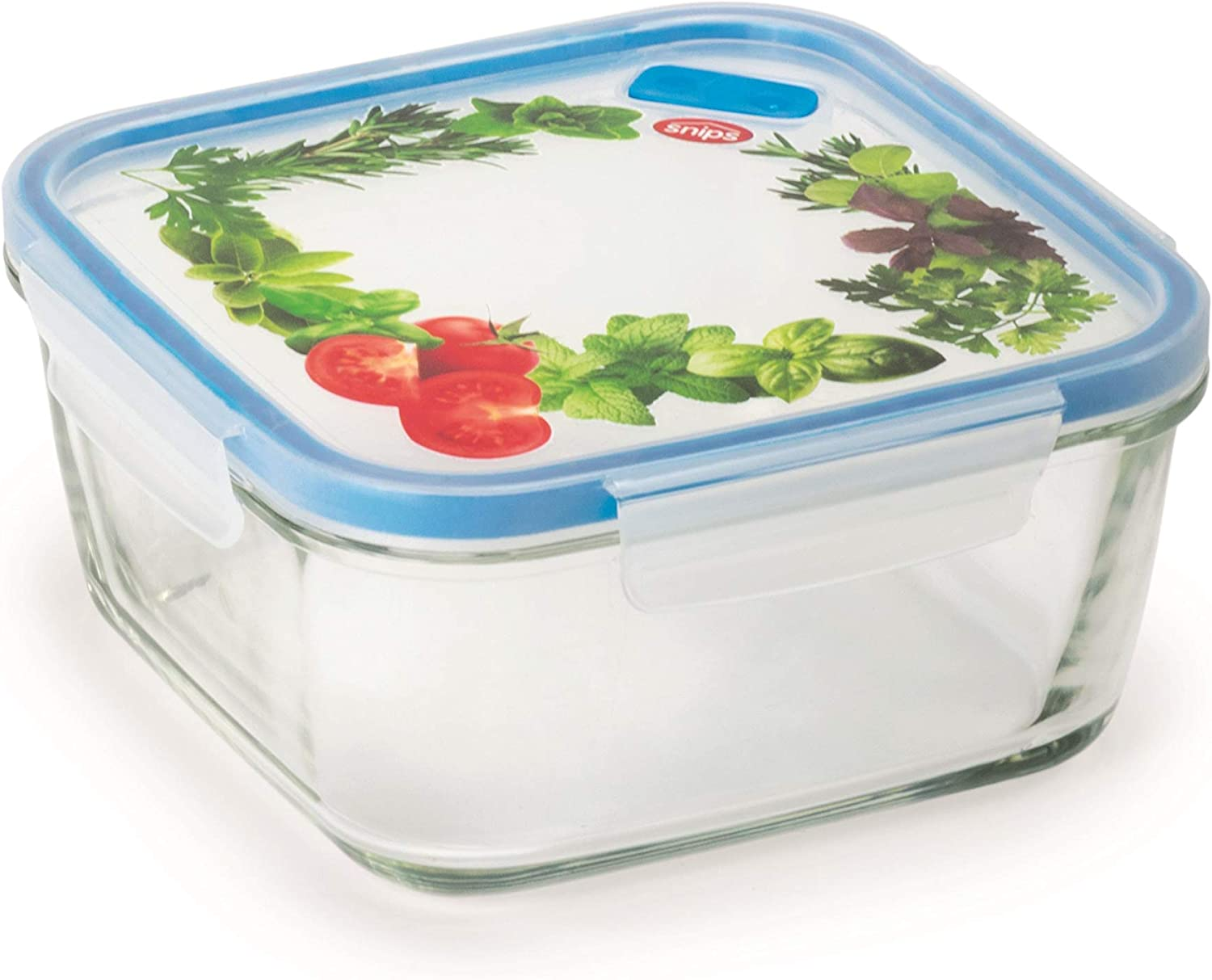 Snips Lock Glass Square Food Container 1.40L Transparent with De