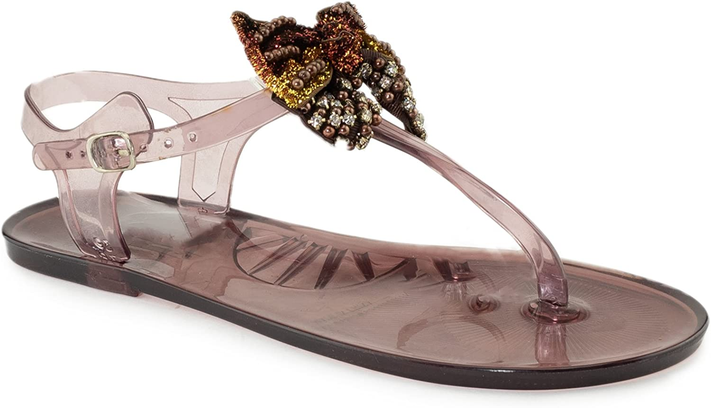 RF ROOM OF FASHION Women's Rhinestone Bow Summer T Strap Jelly Flip Flops Flat Sandals