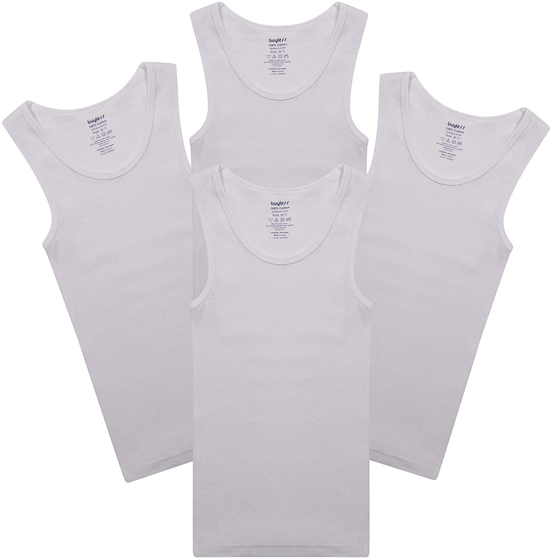 Buyless Fashion Boys Scoop Neck Tagless Undershirts Soft Cotton Tank Top (4 Pack)