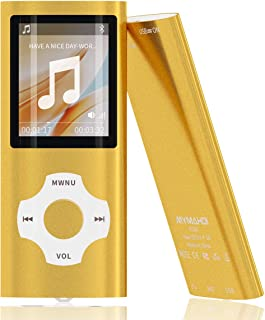 Mymahdi MP3/MP4 Portable Player, 1.8 Inch LCD Screen and Card Slot,Max Support 64GB TF Card, Gold
