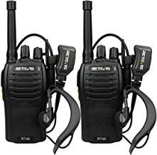 Retevis RT46 Walkie Talkie Rechargeable Dual Power SOS Alarm FRS Hands-Free VOX Two Way Radio with Headset(2 Pack)
