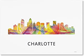 Charlotte NC Skyline WB-1 by Marlene Watson, 12x19-Inch Canvas Wall Art