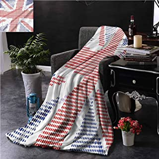 Modern Light Pink Throw Blanket Double-Sided Printing Union Jack Pixel Art Design Couch Bed Napping Reading Recliner W60 xL50