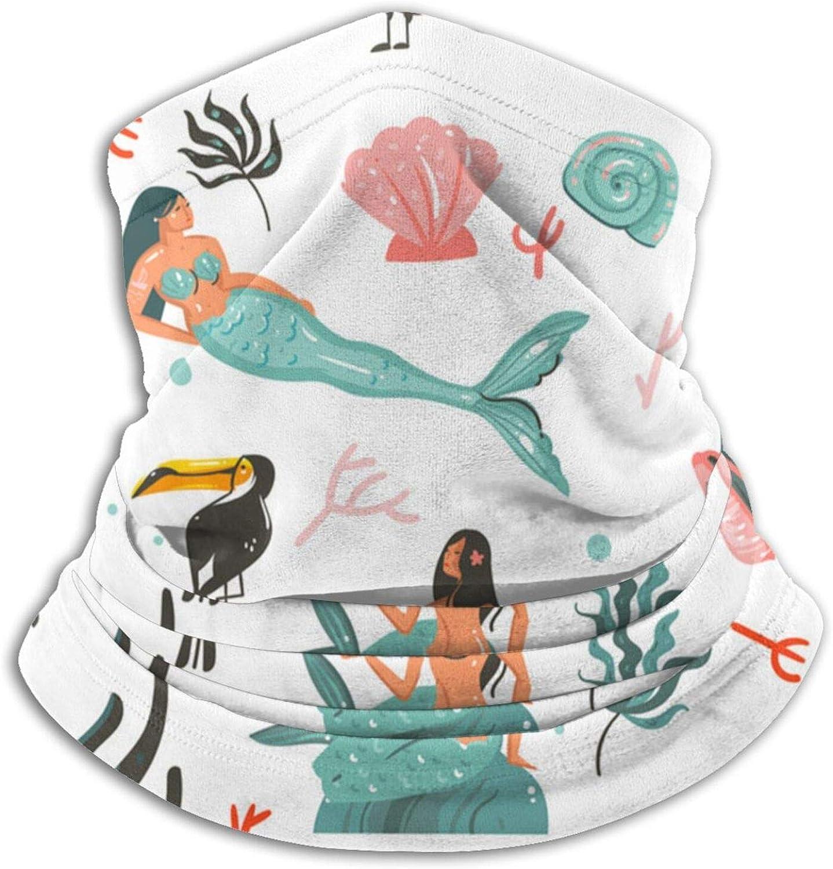 Winter Neck Gaiter Warmer Soft Face Mask Scarf Cartoon Undersea Mermaid Outdoor Sports Neck Warmer Headwear for Men Women Black