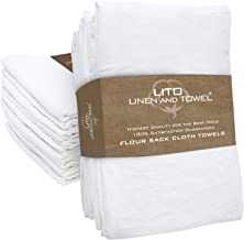 Linen and Towel Flour Sack Dish Towels 130 Thread Count Ring Spun Cotton Large 28