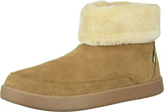 Sanuk Women's Roll-Top Bootie Suede Ankle Boot, Chestnut, 6 M US