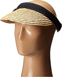 WSV0005 4 Inch Brim Straw Clip On Visor with Bow
