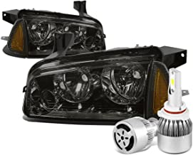For Dodge Charger LX 4Pc Smoked Lens Clear Lens Headlight + Amber Signal Light + 9006 LED Conversion Kit W/Fan