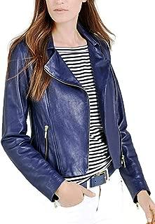 Women's Biker Lambskin Zipper Short Leather Jacket for Winter Cover Ups