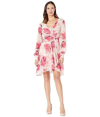 Calvin Klein Floral Surplus Neck Chiffon Dress (Khaki Multi) Women