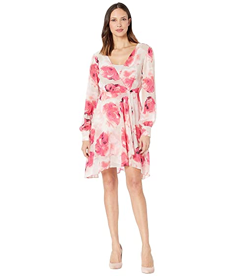 0f7ec09f2630 Calvin Klein Floral Surplus Neck Chiffon Dress at Zappos.com