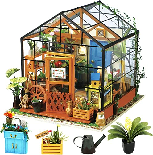 high quality Rolife DIY new arrival Miniature Dollhouse Kit,Green House with Furniture popular and LED,Wooden Dollhouse Kit,Best Birthday and Valentine's Day Gift for Women and Girls outlet sale