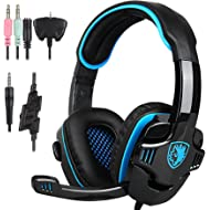 Stereo Gaming Headphone, SADES SA708GT PS4 Gaming Headphone with Microphone (Blue)