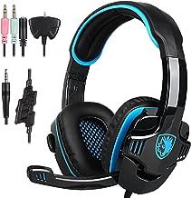 Sades SA 708 Stereo Gaming headsets with Foldable Mic (Black/Blue)