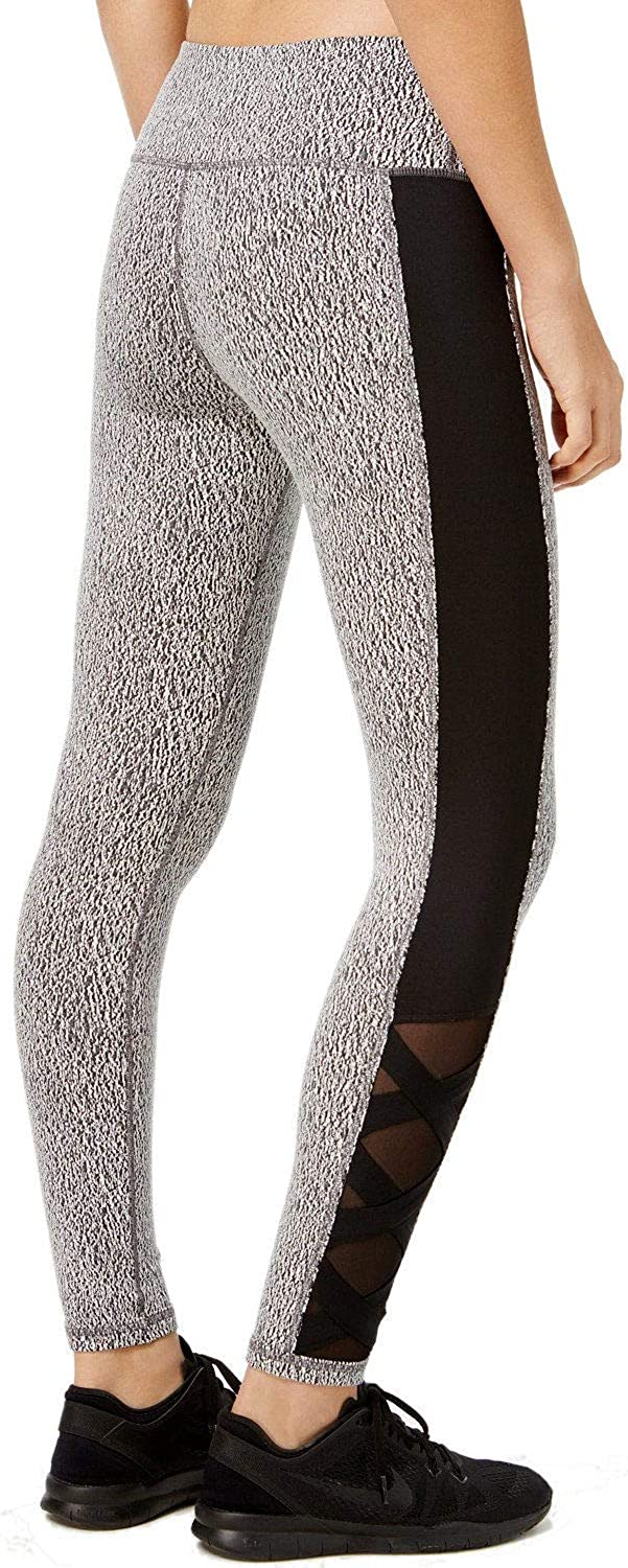 Ideology Womens Heathered Ankle Athletic Leggings B/W XS
